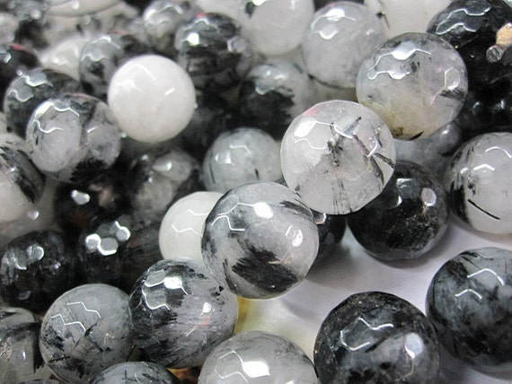 Black Rutilated Quartz Faceted Round Beads 14mm- 28pcs/Strand