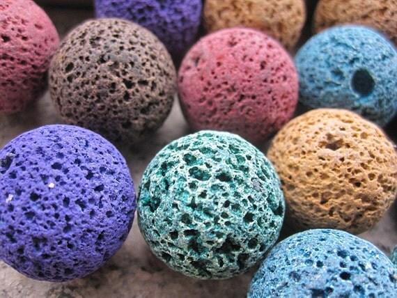 5 Strands -- Colorful Lava Stone 20mm Round Ball Designer Beads-- 20pcs Full Strand