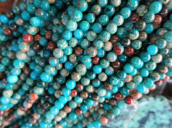 2 str -Blue Serpentine 4mm Round Ball beads