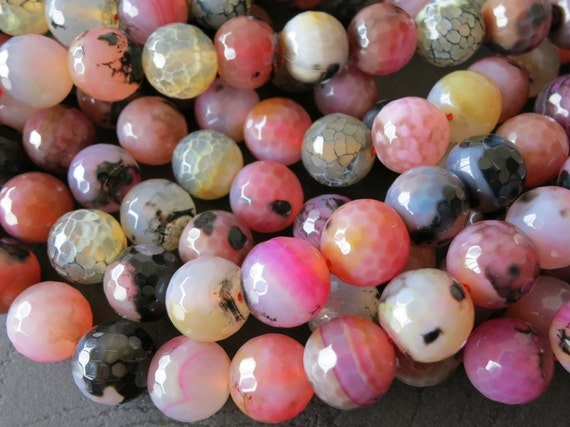 Peachy Pinkish Black Panda Fire Crab Agate 14mm Faceted Round Ball Loose Beads-- 27pcs Full Strand