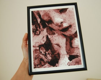 SALE - Limited Edition Print, signed, numbered 1/15, framed - The color of sleep variation pink inspired by Auguste Rodin