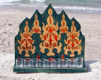Wood Hanukia .Oil Chanukah Menorah. Hanukka Menora.Judaica Home Decor. Made in Israel