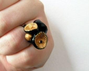 Gold black statement ring flower OOAK - Sculpted art ring adjustable base