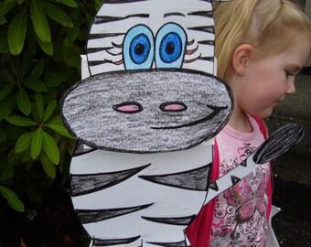 Zebra Puppet and Paper Craft- Hand Drawn Original