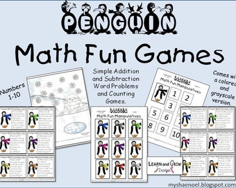 Penguin Math Fun Addition and Subtraction Games (PDF)