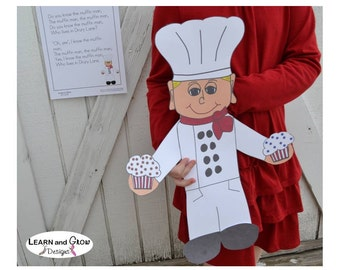 The Muffin Man Puppet Art Project and Nursery Rhyme Poster