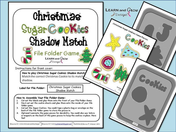 Christmas Sugar Cookies Shadow Match File Folder Game