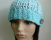 SALE - Crochet Beanie Hat with a Button in Light Steel Blue for Adult - 30% OFF