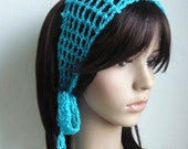 Handmade Gypsy style Crochet Hair band / short scarf in Cyan Color or Pick your own color