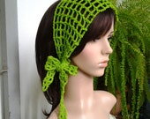 Handmade Gypsy style Crochet Hair band / short scarf in kelly green color OR choose and pick your own color