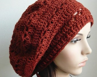 Handmade Crochet Short Rasta Tam - FireBrick RT66 - made to order