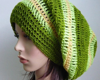 Handmade Crochet Long Stripes Slouch -  Mix Green LS95/32/61 - made to order