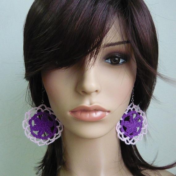 Lacy Flower Crochet Earrings in Purple