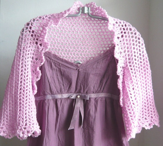 SALE - Light and Lacy Crochet Shrug / Bolero in Sweet Pink - 30% OFF