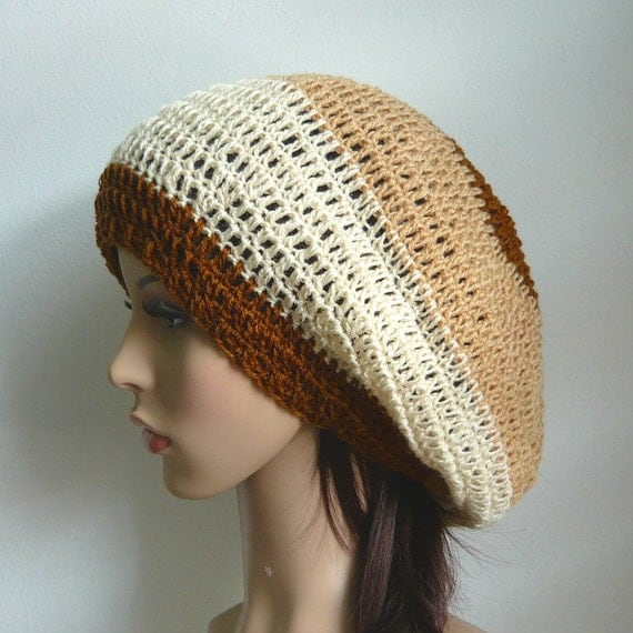 SALE - Crochet Slouch Beret Tam Hat in Shades of Brown - 30% OFF
