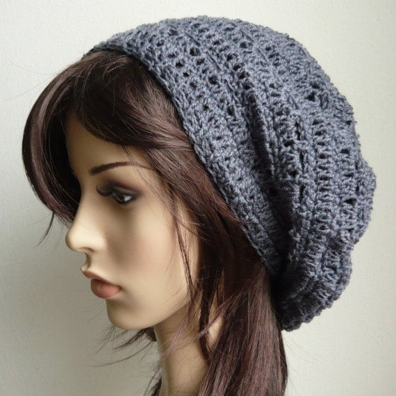 Handmade Crochet Short Rasta Tam - Dark Grey RT19 - made to order