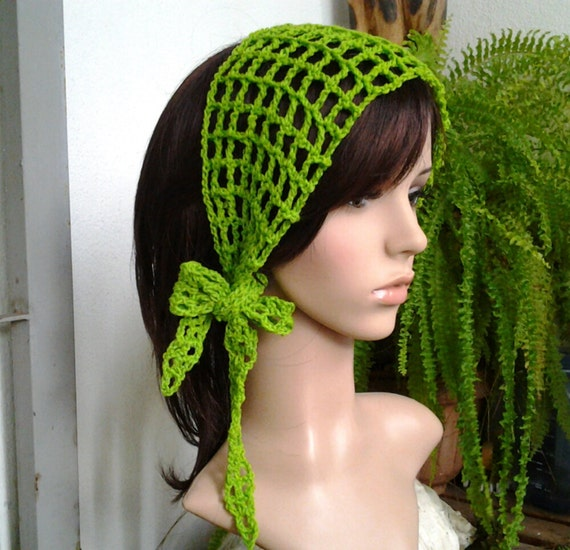 Crochet Gypsy Style Hair Band Pattern : Gypsy style Crochet Hair band / short scarf in kelly green color OR ...