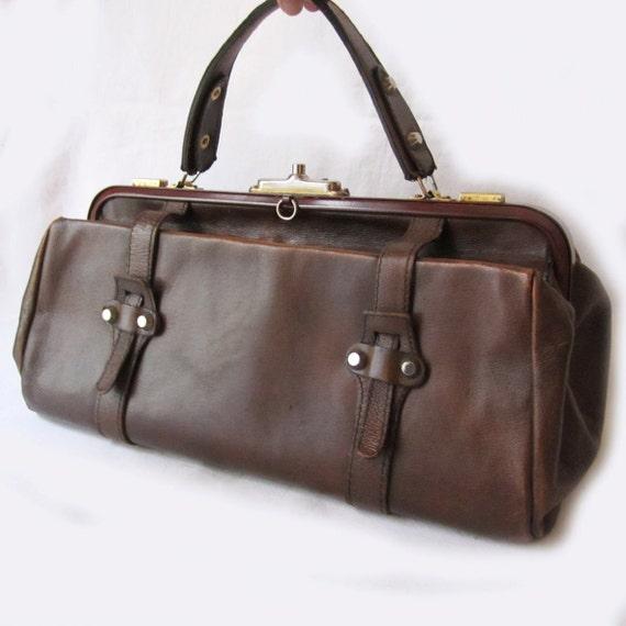 Antique 1950 French DOCTOR Dark Caramel Genuine Leather Bag