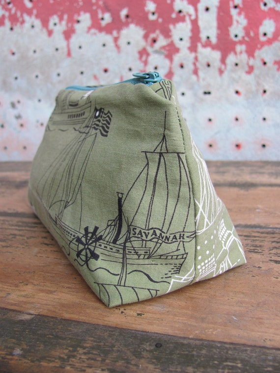 RESERVED // Riverboat Zip Pouch / Vintage Cotton Fabric with Vintage Zipper