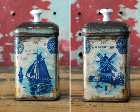 Sailboats and Windmills C.D. Kenny Co. Tea Tin // Late 19th-Early 20th Century