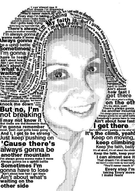Custom Typography WORD Portrait FREE SHIPPING