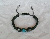Ocean Blue Pave and Hematite Macrame Bracelet