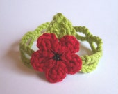 Red Poppy Flower with black beads Lime-green crochet bracelet with leaf