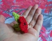 Crochet Ring Green Red Poppy Flower unusual