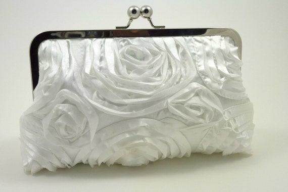 Kiss Lock Bridal Clutch in White Taffeta Rosette with Something Blue Satin Lining for Bridal Bridesmaids Gifts or Special Occasions