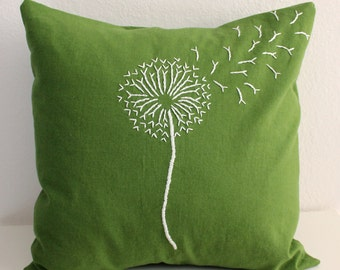 Green Dandelion Pillow