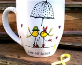 Yellow Ribbon Love Birds Smooch : Hand Painted Mug - Support Our Troops