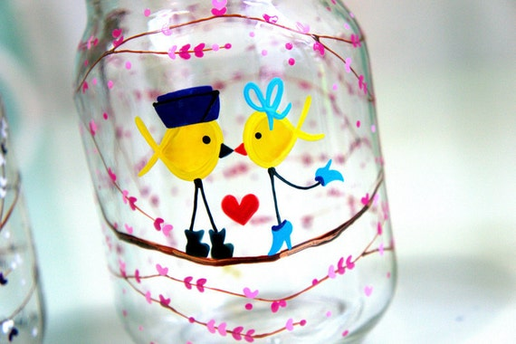 Air Force Ribbon Love Birds (High Heels & Boots) - 1 Glass Jar Tumbler : Support Our Troops