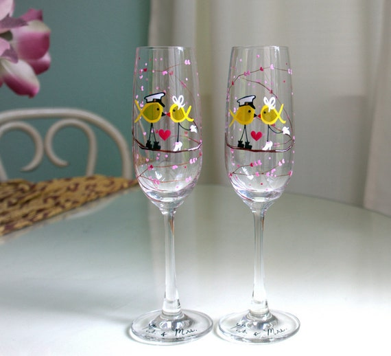 Custom Order Meggie -- Set of 2 Personalized Champagne Flutes