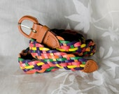 Multi Color Woven Leather Belt