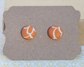 Fabric Covered Button Earrings - Orange Blossom