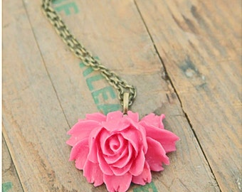 Pink Rose Pendant, Flower Cabochon Necklace, Vintage Style Necklace, Floral Necklace, Statement Necklace, Rose Necklace, Flower Necklace