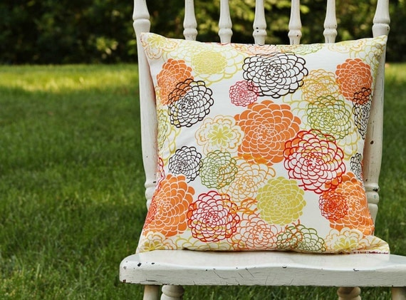 Throw Pillow Cover Orange Blossom Orange Brown Yellow Floral Explosion 16 x 16 Handmade by Willow Handmade