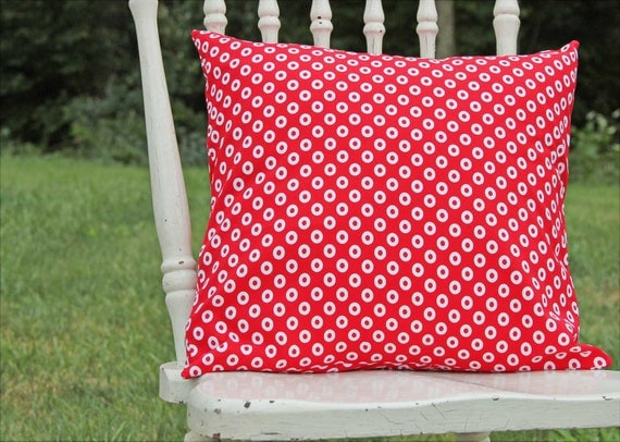 Throw Pillow Cover Circles Red and White 16 x 16 Handmade by Willow Handmade