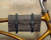 Faus bois browm leather bike bag