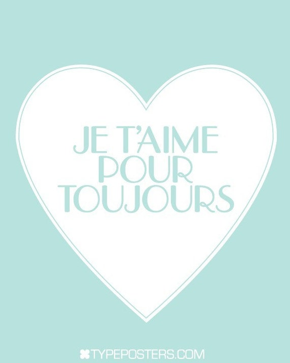 Je T'aime French Typography Poster