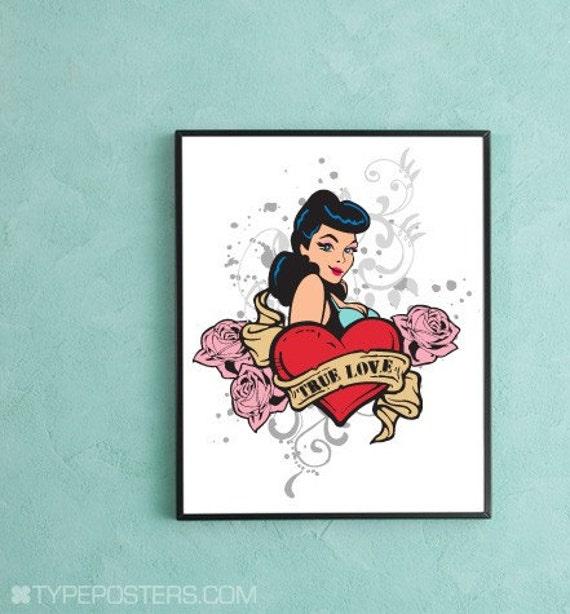 True Love Pinup Girl Tattoo - Art Print