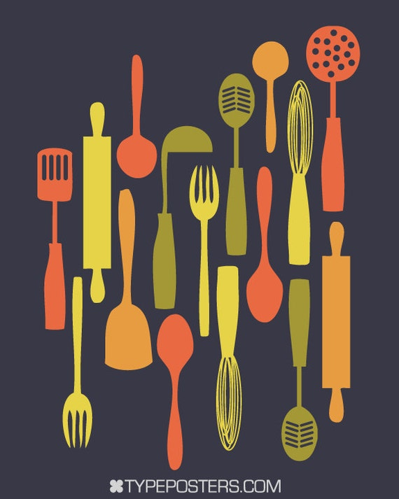 Items similar to Modern Utensils - 16x20 Dark Kitchen Art ...