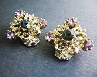 Rhinestone Clip Earrings Grey Blue & Lilac