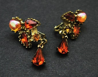 Coro Rhinestone Earrings - Vintage Jewelry Clip Sparkle Autumn Auburn Elegant AB Gold Classic Dressy Glamorous Office Party Chic