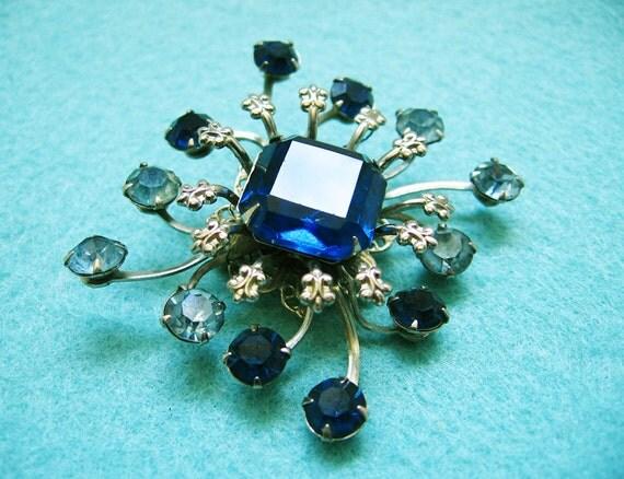 Sapphire Blue Rhinestone Starburst Brooch