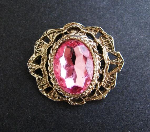 Sweet Pink Rhinestone Brooch - SALE