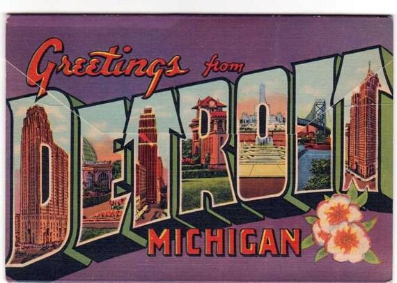 Detroit Postcard Set 1930s