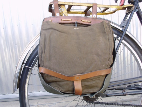 Vintage Military Swiss Bags Converted Into Bicycle Pannier Messenger Saddlebags