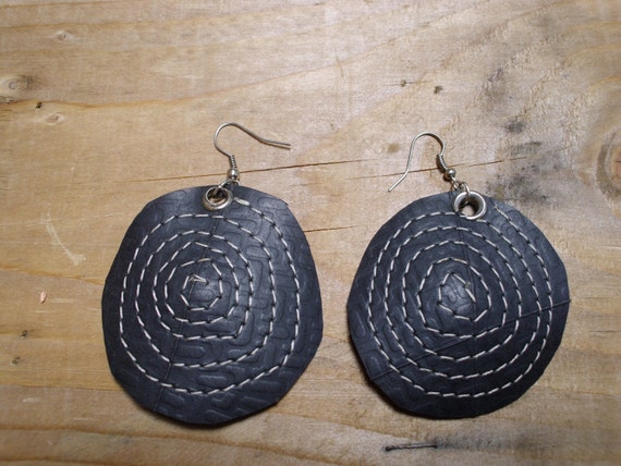 Recycled Rubber Earrings w/ Contrasting Stitching