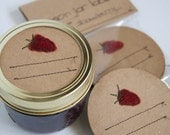 Mason jar gift labels - strawberry - 12pc - regular or wide-mouth